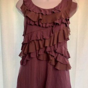 Daisy Fuentes Sz M African Violet Ruffled Top